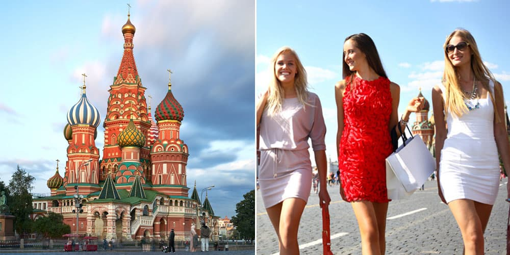 women and Moscow and the St. Basil's Cathedral