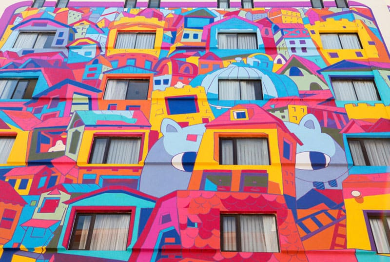 colorful walls of Hotel Presidente