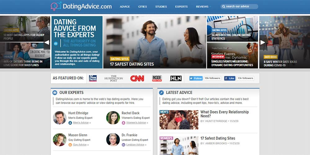 datingadvice.com front page