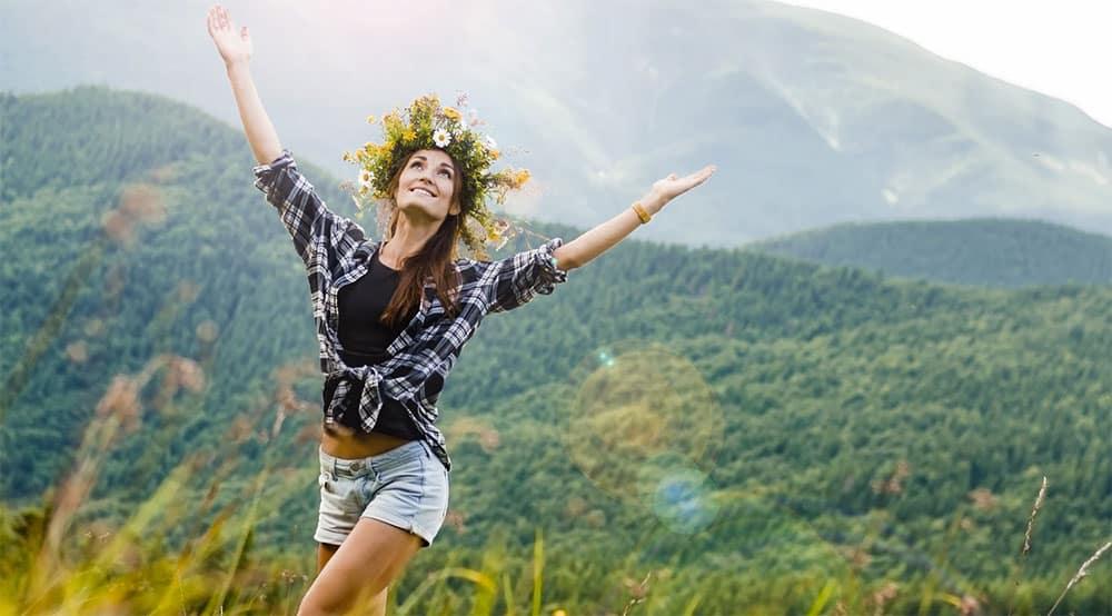 Ukraine woman at the Carpathian Mountains